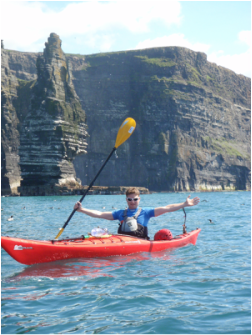 Paddle and Pedal Kayaker David Horkan at the Cliffs of Moher, ireland